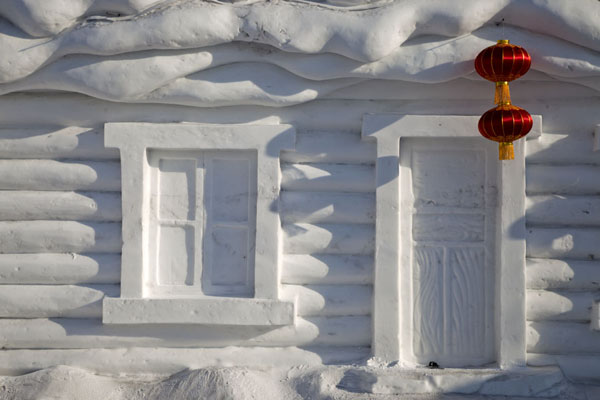 Close-up of a Chinese house with lantern | Snow Sculpture Art Expo | China