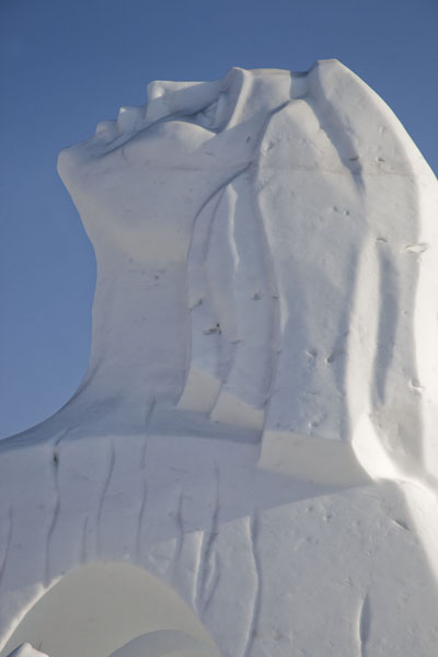 Detail of a woman looking up in the sky | Snow Sculpture Art Expo | China