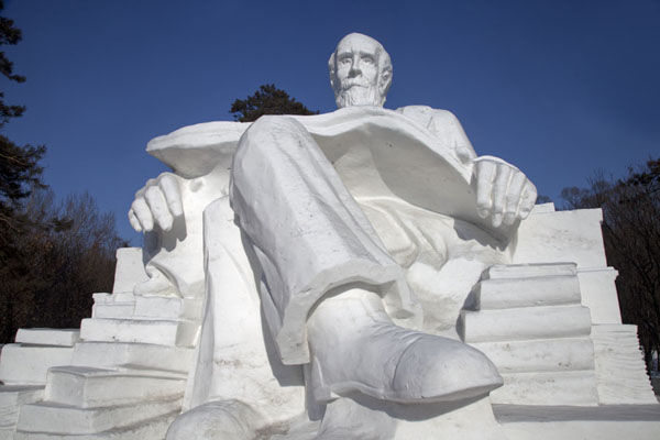Picture of Looking up at Darwin, sculpted from snow