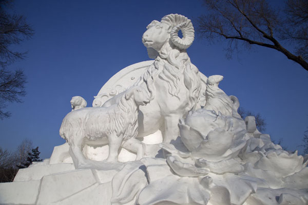 Goat sculpted out of snow at the entrance of the expo | Snow Sculpture Art Expo | China