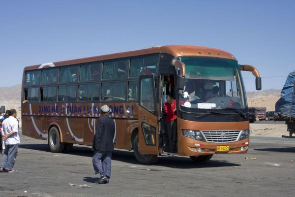Picture of Sleeper bus at the northern side of the Taklamakan Desert Highway