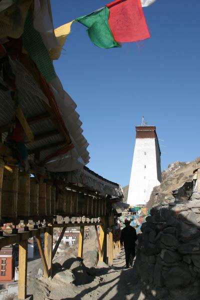 Thanka wall towering above the Tashilhunpo kora | Tashilhunpo kora | China