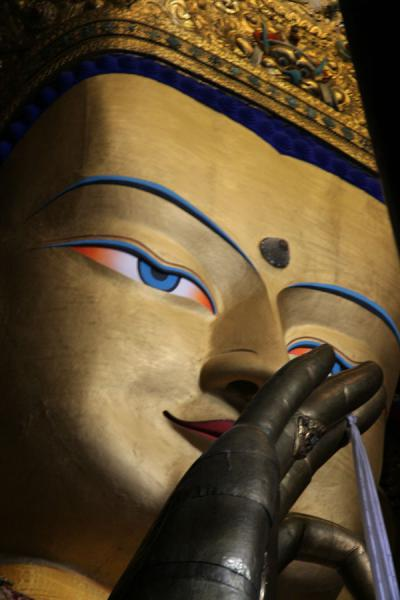 Close-up of the head of Maitreya, the largest gilded statue in the world | Tashilhunpo monastery | China