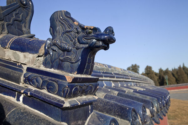 Picture of China (Dragon and dark blue tiles on the wall surrounding the Circular Mound Altar)