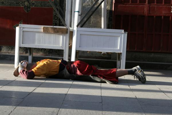 Picture of Tibetan pilgrims (China): Prostrating Tibetan pilgrim on the streets of Lhasa