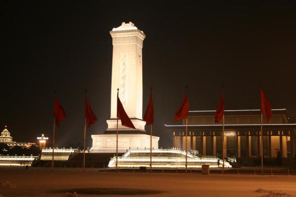 Flags, monument and Mao's mausoleum on Tien An Men Square | Tien An Men By Night | China