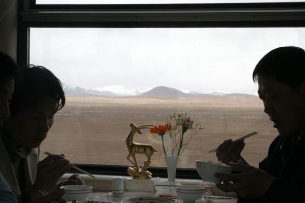 Picture of Silhouettes of travelers with the Tibetan landscape in the background