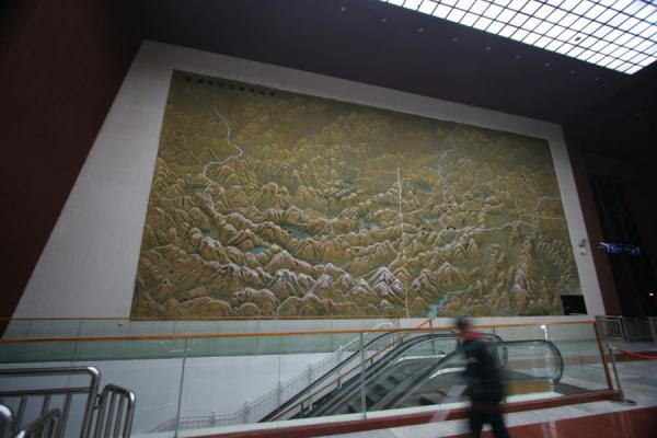 Picture of Train to Lhasa (China): Lhasa railway station: enormous map of the Tibetan province