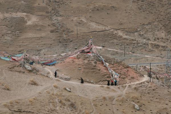 Ritual circumambulation or kora around hill at Trangu monastery | Trangu monastery | China