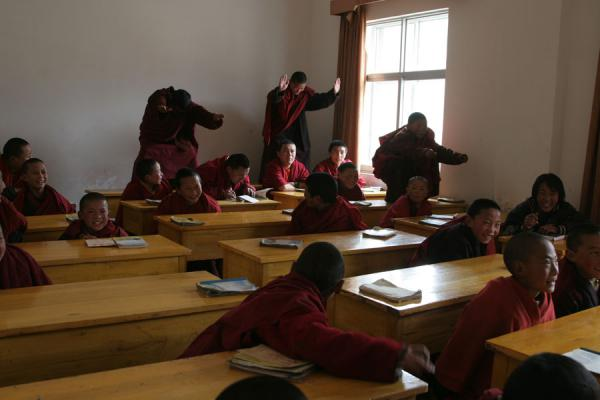 Young monks in class at Trangu monastery | Trangu monastery | China