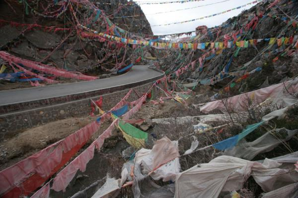 Prayer flags everywhere: the valley around Wencheng temple | Wencheng temple | China