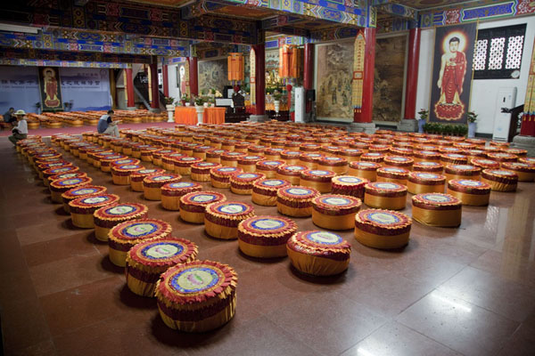 Sitting pillows on the floor of the scriptures hall in Wenshu monastery | Wenshu Monastery | China