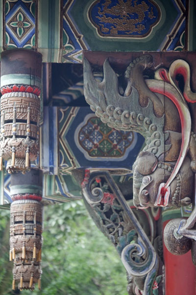 Detail of the scriptures hall with colourful paintings | Wenshu Monastery | China