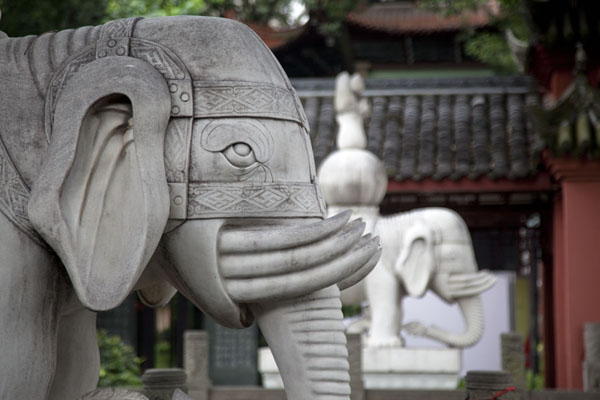Elephant statues at the 13-story pagoda at the entrance of the monastery | Wenshu Monastery | China