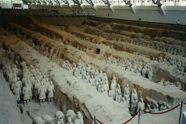 Picture of Terracotta warriors lined up in Xian