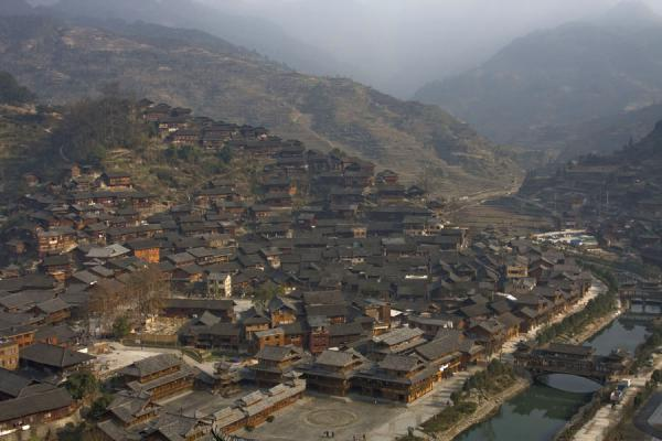 Xijiang village, river and bridge | Xijiang | China