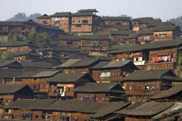 Houses of Xijiang village in the late afternoon sun | Xijiang | China