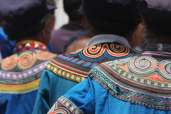 Foto van Close-up of embroidery on Yi costumesPuge - China