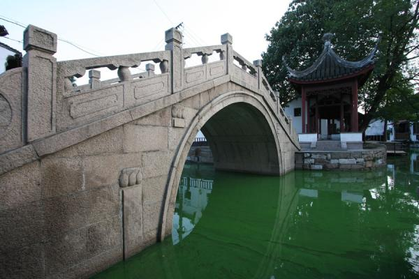 Foto van Zhongguanyin Bridge over one of the green canals of ZhujiajiaoZhujiajiao - China