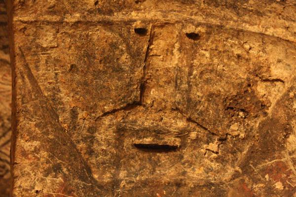 Close-up of face inside a tomb of Tierradentro | Alto de Segovia tombs | Colombia