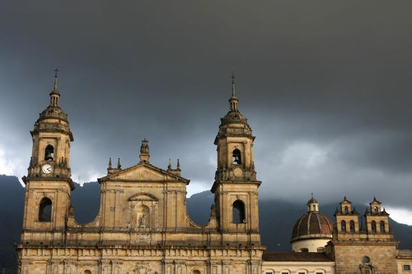 Picture of Primada Cathedral under a dark sky in the late afternoon
