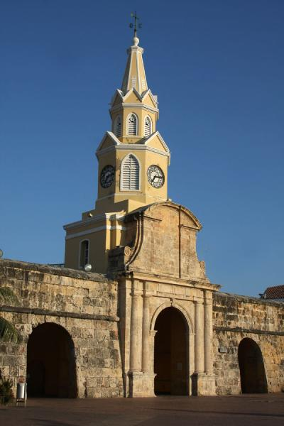 Picture of The Puerta del Reloj or Clock Tower Gate in the early morningCartagena - Colombia