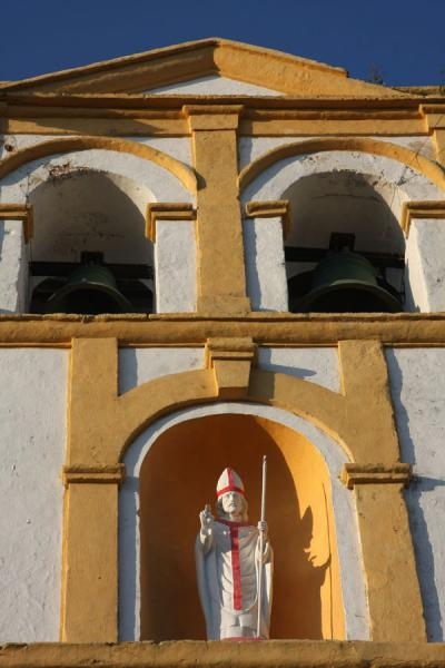 Picture of Cartagena de Indias (Colombia): Church in Cartagena: close-up of the belfry