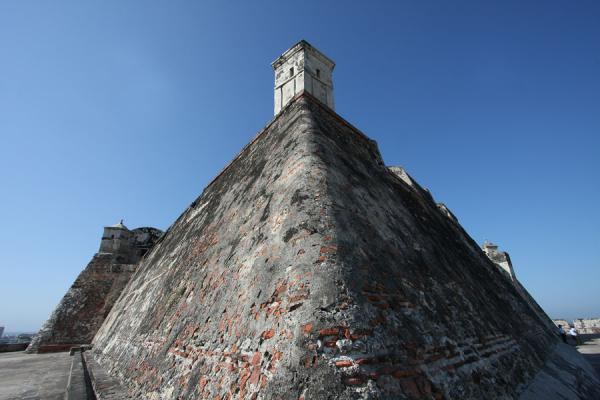 Steep, thick walls of the Castillo San Felipe | Castillo San Felipe de Barajas | Colombia