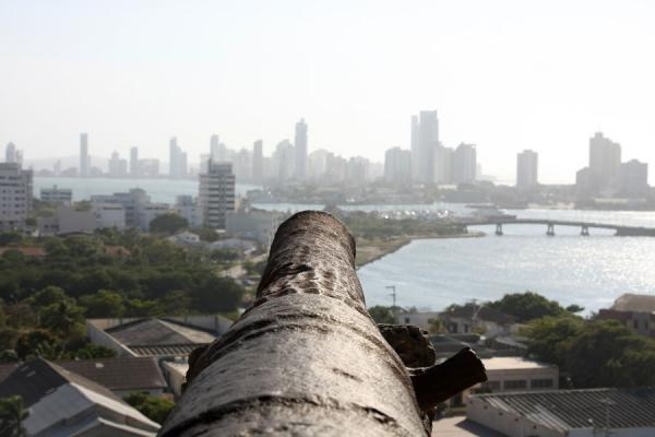 Old cannon and new city of Cartagena de Indias | Castillo San Felipe de Barajas | Colombia