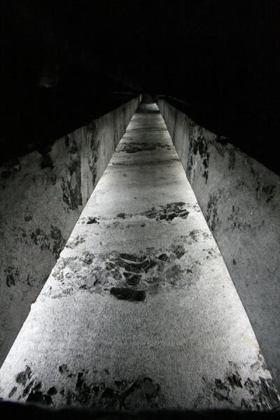 Looking up the enormous salt cross in the central nave of the Salt Cathedral | Salt Cathedral of Zipaquirá | Colombia