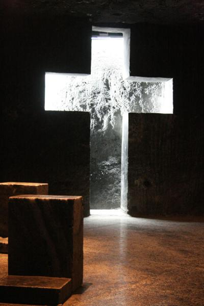 Cross at one of the stations of the cross on the way down inside the cathedral | Salt Cathedral of Zipaquirá | Colombia