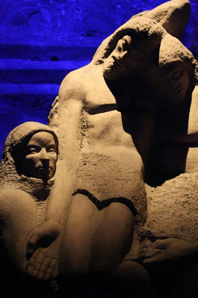Detail of statue inside the Salt Cathedral | Salt Cathedral of Zipaquirá | Colombia
