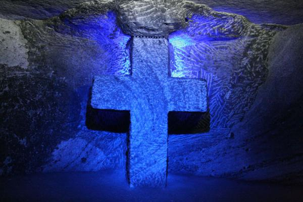 Cross at one of the stations in the Salt Cathedral | Salt Cathedral of Zipaquirá | Colombia