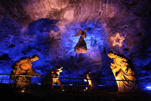 Picture of Birth of Jesus represented in the Salt Cathedral