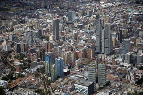 Close-up of downtown Bogotá seen from Cerro Monserrate | Cerro Monserrate | Colombie