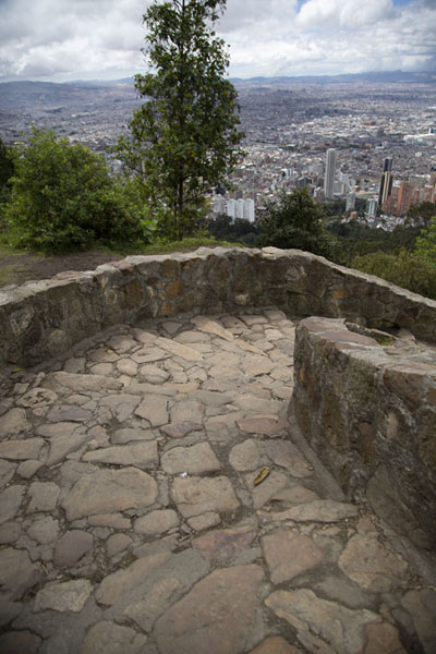 Foto van Pilgrims prefer to walk up the mountain on a steep pathBogotá - Colombia