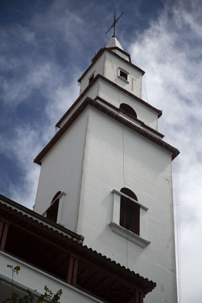 Looking up the bell-tower of the Nuestro Señor de Monserrate church | Cerro Monserrate | Colombie
