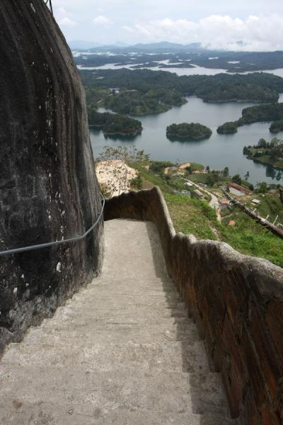 View over Embalse del Peñol from the stairs | El Peñón de Guatapé | Colombia