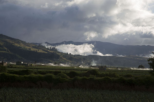 Foto di Landscape around Lake Tota with clouds floating between the mountains - Colombia - America