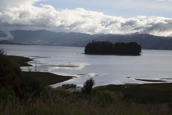 View of Lake Tota with islet | Lago de Tota | Colombia
