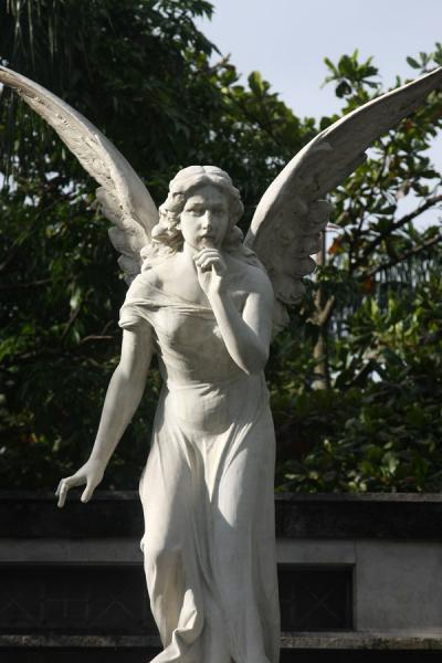 Picture of Angel trying to silence the visitor at San Pedro Cemetery