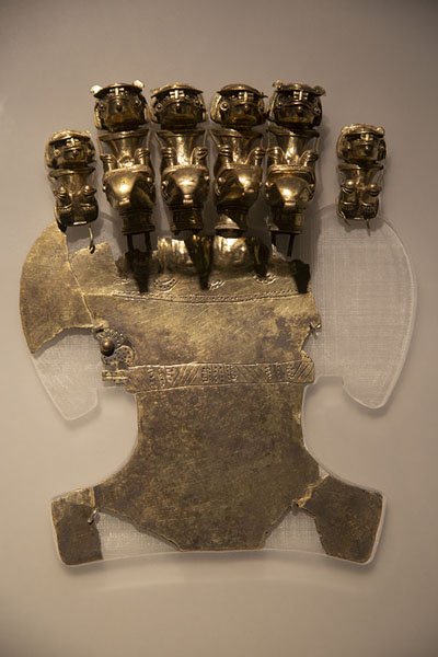 Picture of Richly decorated Tayrona gold object on display in the Gold Museum of Santa Marta