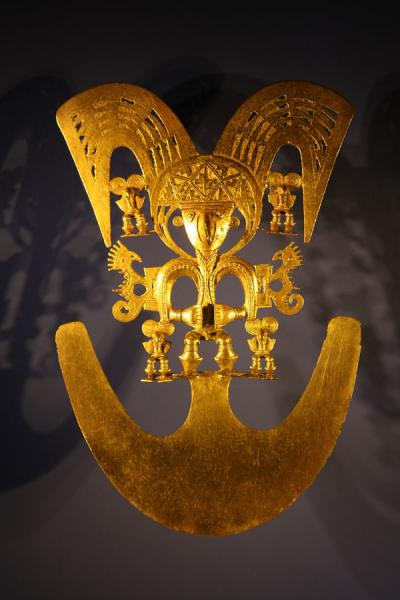 Golden artifact used by shamans for offerings on display in the Gold Museum | Museo del Oro | Colombia