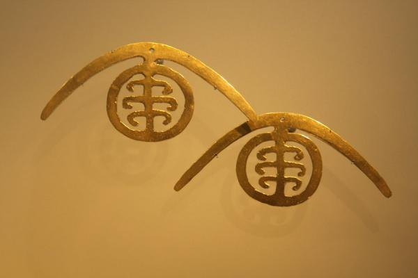 Golden earrings in the Gold Museum | Museo del Oro | Colombia