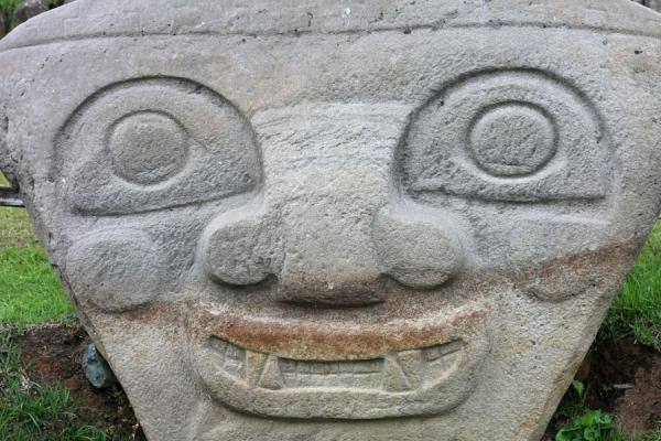Statue of face at mesita B | Archeological Park San Agustín | Colombia