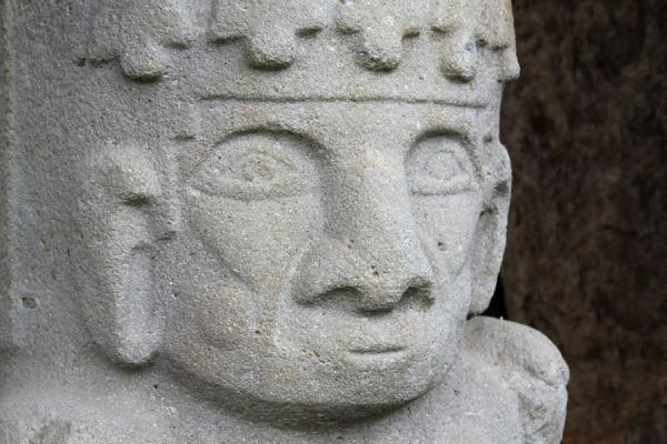 Close-up of face of statue at mesita B of San Agustín | Archeological Park San Agustín | Colombia