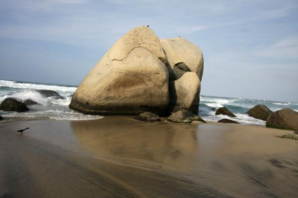 Huge boulder on the beach of Arrecifes | Parque Nacional Tayrona | Colombia