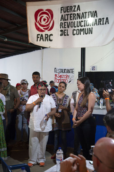 Addressing the crowd: Farc figures talking to a selection of extreme travellers in El Oso | Peace road to Marquetalia | Colombia