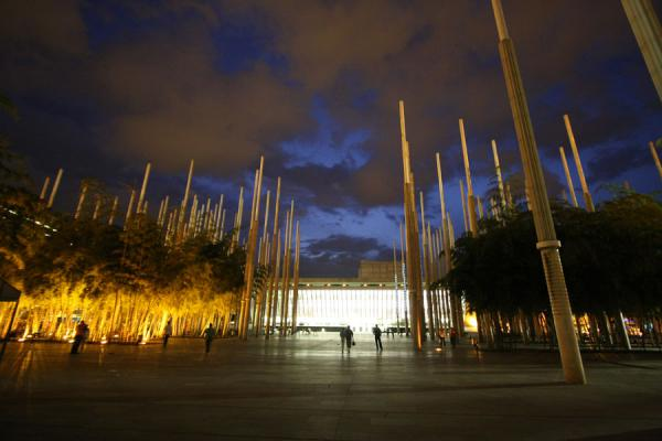 Night view of Plaza de Cisneros with the EPM Library in the background | Plaza de Cisneros | Colombie