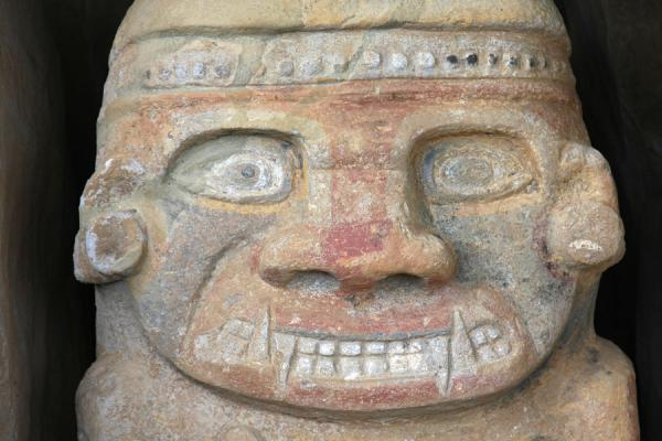 Close-up of face of rock statue at El Purutal | San Agustín Archeological sites | Colombia
